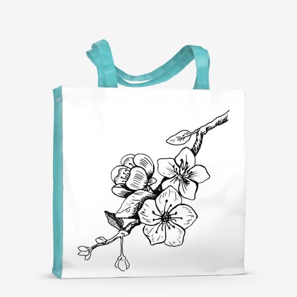 Сумка-шоппер «Цветок вишни. Скетч»