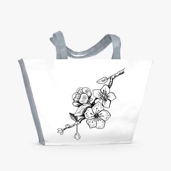 Пляжная сумка «Цветок вишни. Скетч»