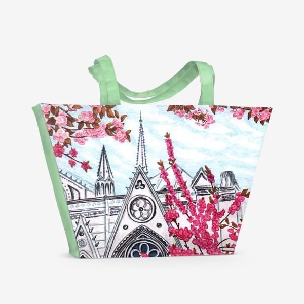 Пляжная сумка «Цветущий Париж. Нотр-Дам.»