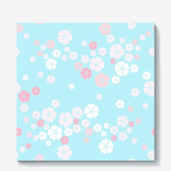 Холст «Нежный паттерн. Белые и розовые цветочки на голубом фоне.»