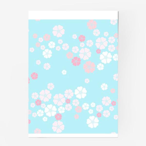 Постер «Нежный паттерн. Белые и розовые цветочки на голубом фоне.»