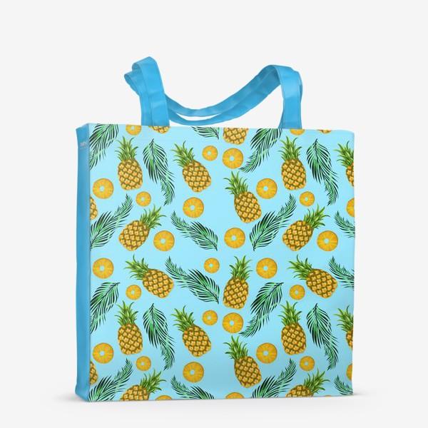 Сумка-шоппер «Паттерн ананасы на голубом»