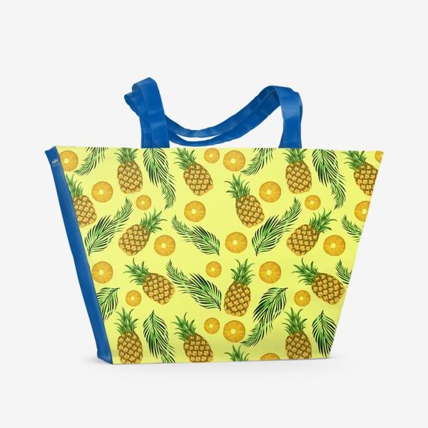 Пляжная сумка «Паттерн ананасы на желтом»