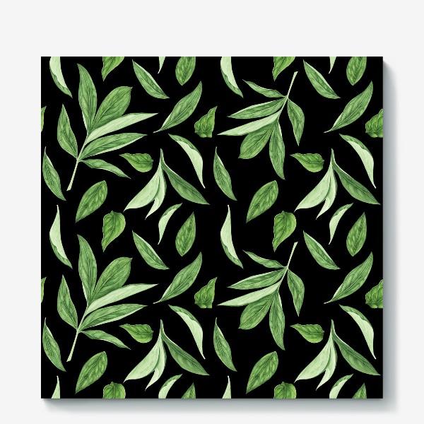 Холст «Листья пиона на черном фоне»
