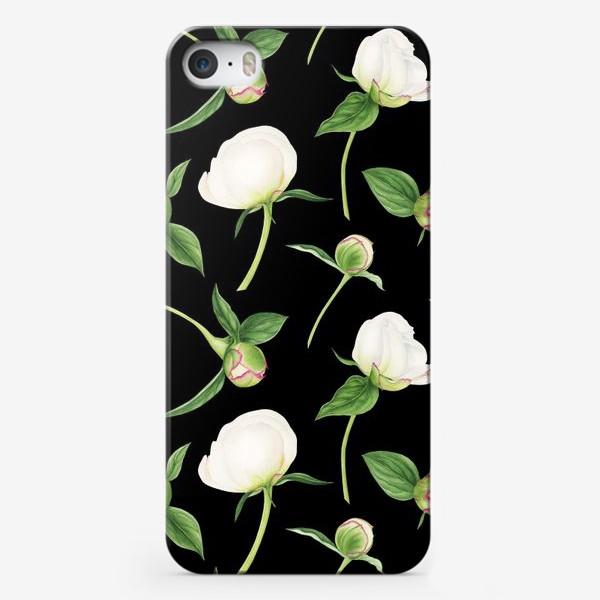 Чехол iPhone «Бутоны белых пионов на черном фоне»