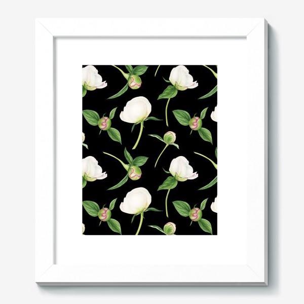 Картина «Бутоны белых пионов на черном фоне»