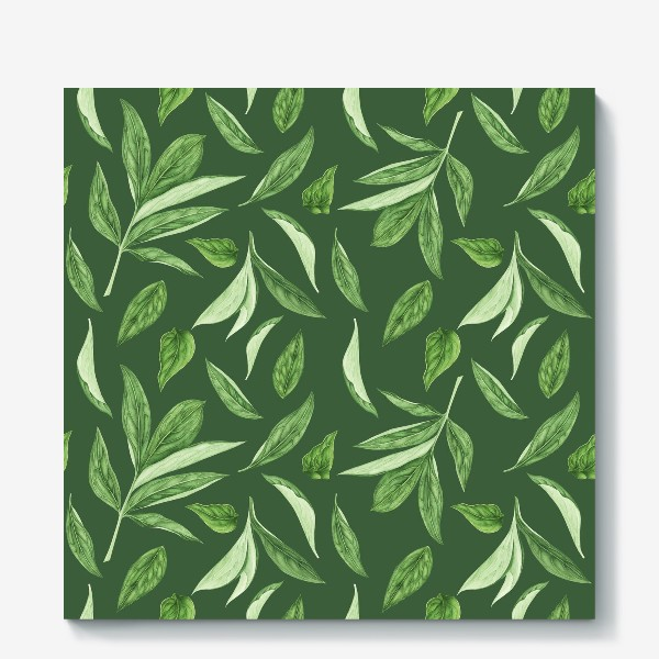 Холст «Листья пиона на зеленом фоне»