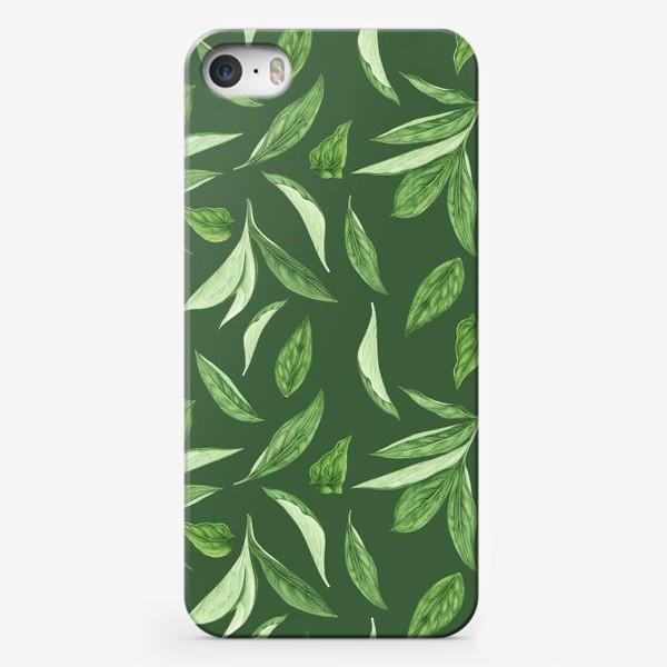 Чехол iPhone «Листья пиона на зеленом фоне»