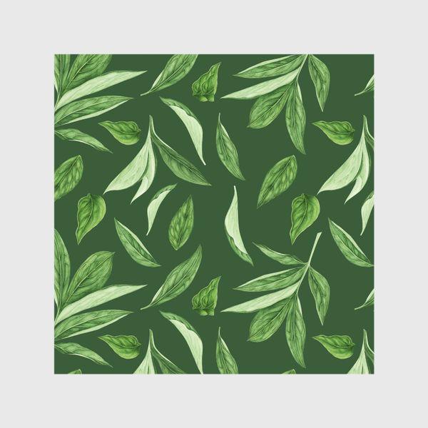 Шторы «Листья пиона на зеленом фоне»