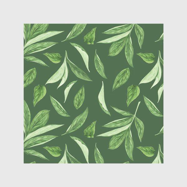 Скатерть «Листья пиона на зеленом фоне»