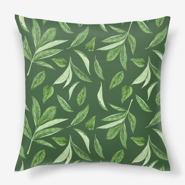 Подушка «Листья пиона на зеленом фоне»