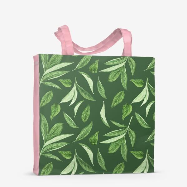 Сумка-шоппер «Листья пиона на зеленом фоне»