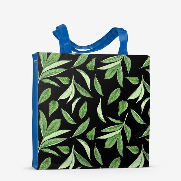 Сумка-шоппер «Листья пиона на черном фоне»