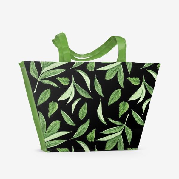 Пляжная сумка «Листья пиона на черном фоне»