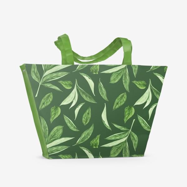 Пляжная сумка «Листья пиона на зеленом фоне»