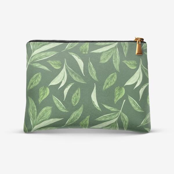 Косметичка «Листья пиона на зеленом фоне»