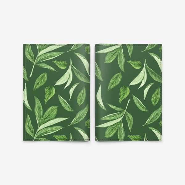 Обложка для паспорта «Листья пиона на зеленом фоне»