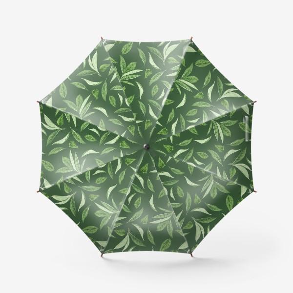 Зонт «Листья пиона на зеленом фоне»