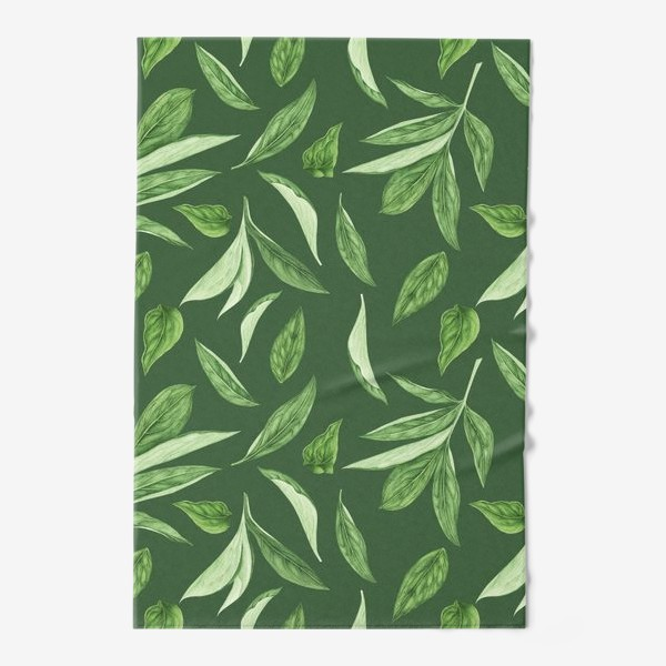 Полотенце «Листья пиона на зеленом фоне»