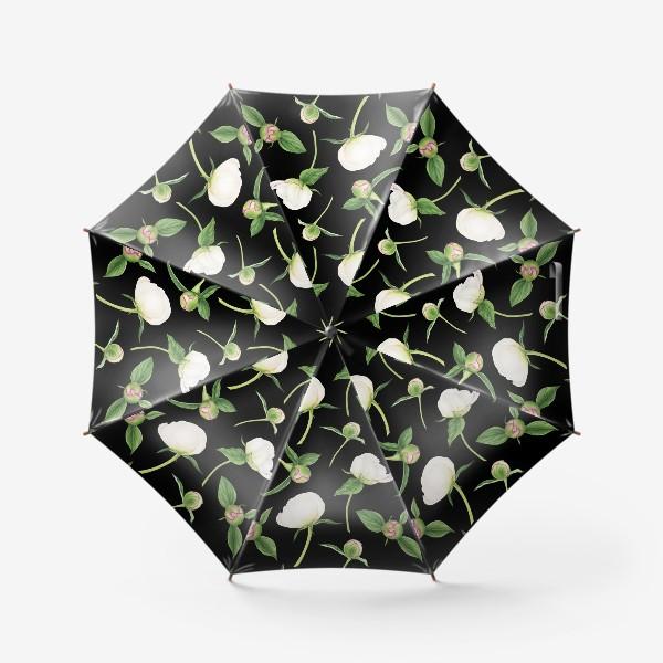 Зонт «Бутоны белых пионов на черном фоне»