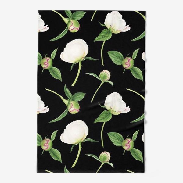 Полотенце «Бутоны белых пионов на черном фоне»