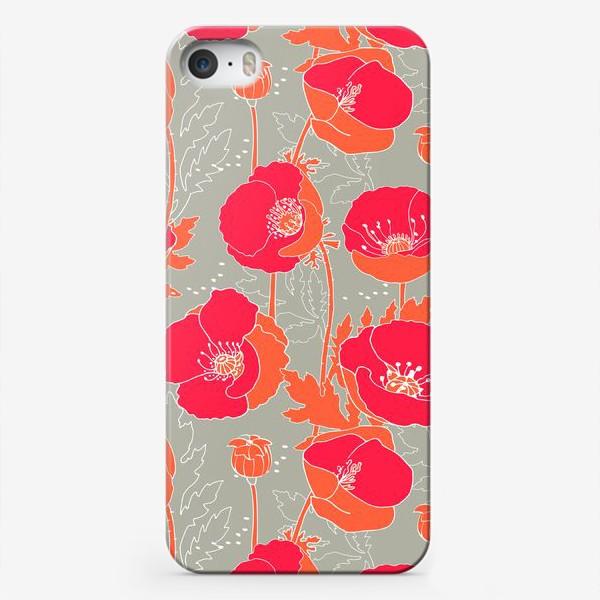 Чехол iPhone «Алые маки на сером»