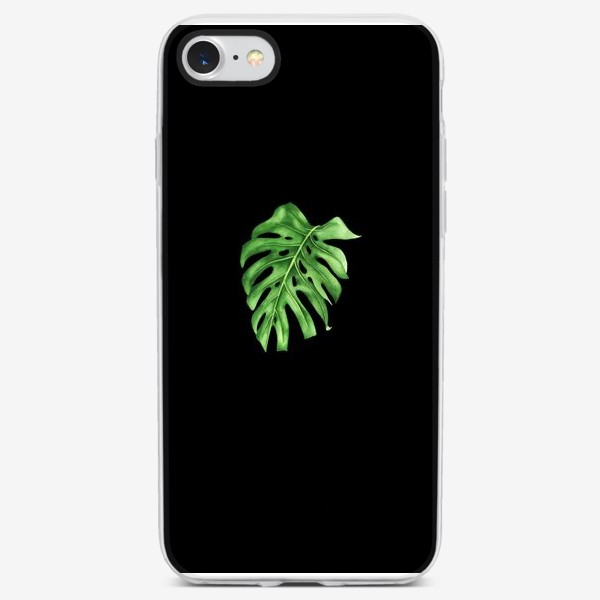 Чехол iPhone «Лист монстеры на черном фоне»