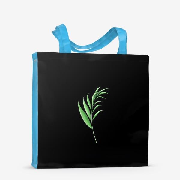 Сумка-шоппер «Лист пальмы 2 на черном фоне»