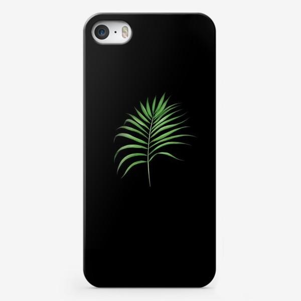 Чехол iPhone «Лист пальмы на черном фоне»