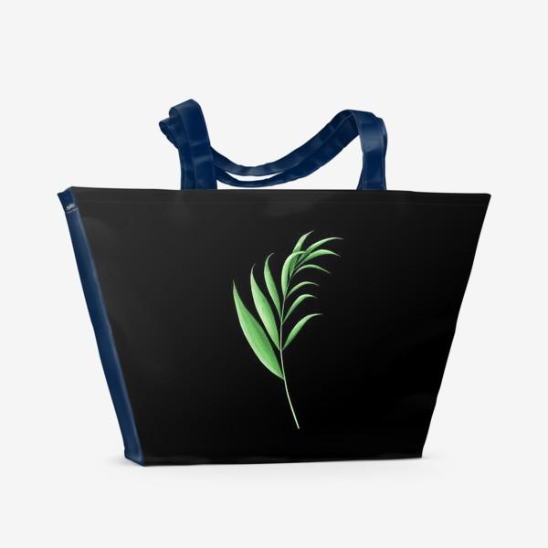Пляжная сумка «Лист пальмы 2 на черном фоне»