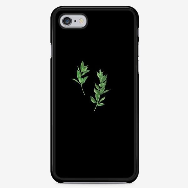 Чехол iPhone «Ветки эвкалипта на черном фоне»