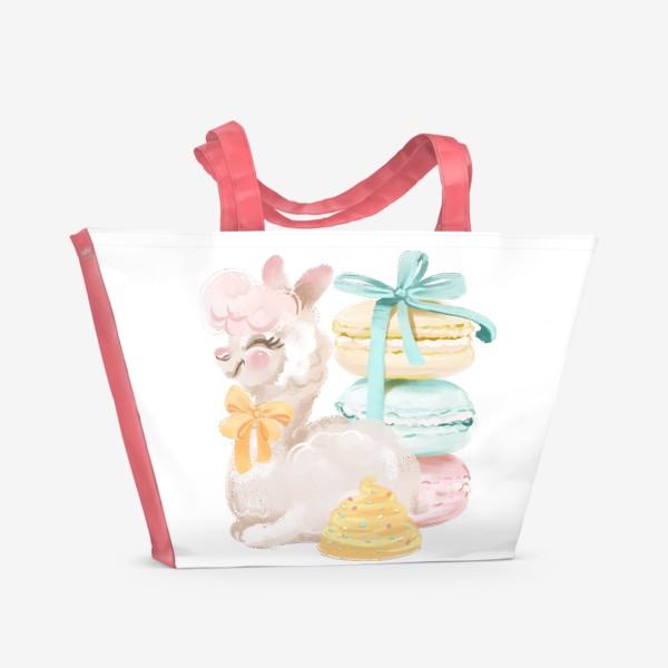 Пляжная сумка «Лама с бантом»