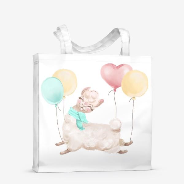 Сумка-шоппер «Лама с шариками»