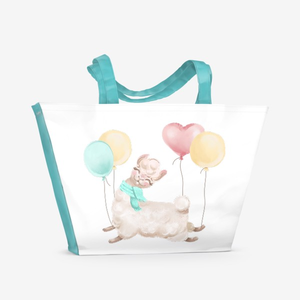 Пляжная сумка «Лама с шариками»
