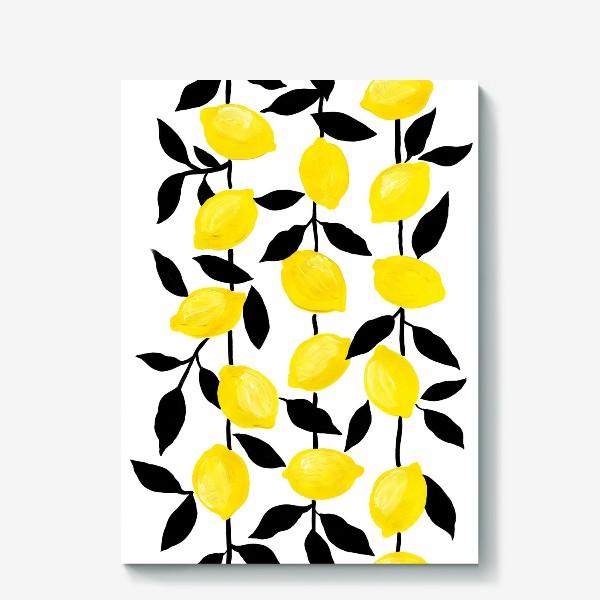 Холст «Жёлтые лимоны с черными листьями, акрил и тушь»