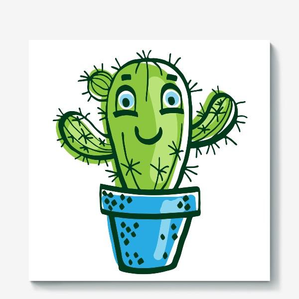 Холст «Милый мультяшный кактус в горшке»