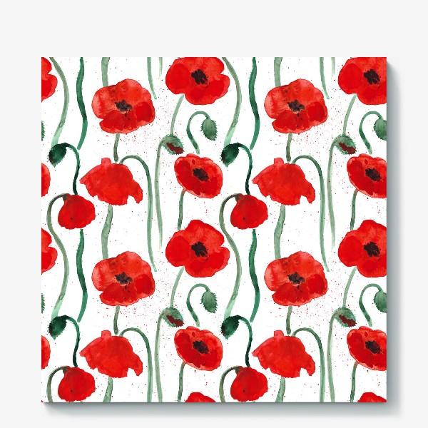 Холст «Красные акварельные маки на белом фоне, паттерн»