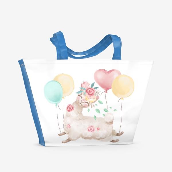Пляжная сумка «Лама с цветами и шариками»