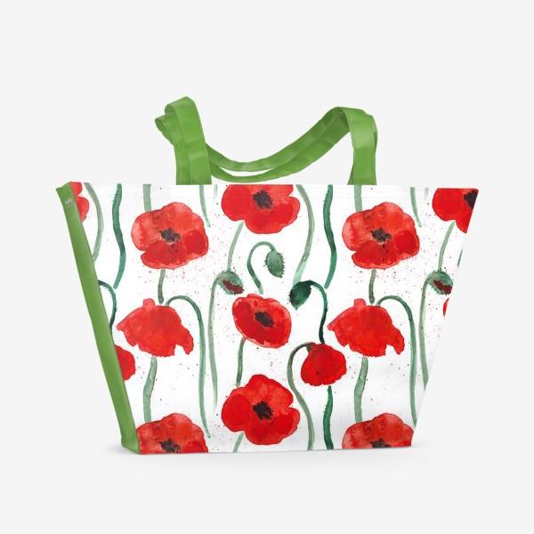 Пляжная сумка «Красные акварельные маки на белом фоне, паттерн»