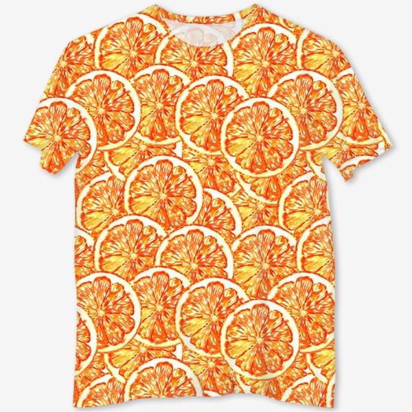 """Футболка с полной запечаткой «Паттерн """"Апельсиновый шторм""""»"""