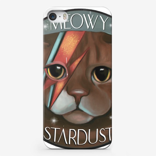 Чехол iPhone «Мяуи Стардаст ziggi stardust David Bowie fan cat»