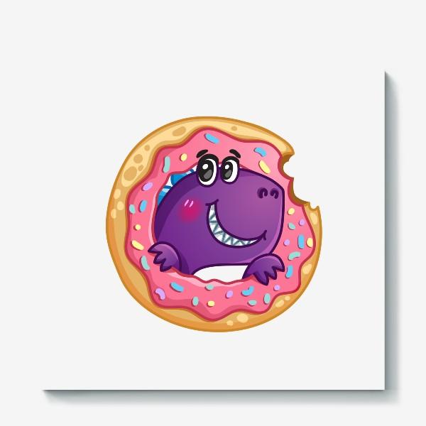 Холст «Маленький динозаврик с пончиком»