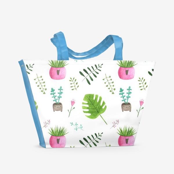 Пляжная сумка «Сансевьера, монстера, суккулент. Летний паттерн из цветов»