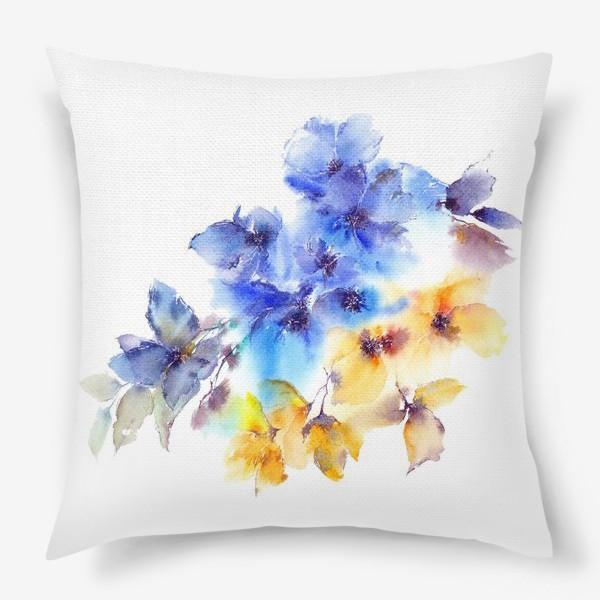 Подушка «Голубые и желтые цветы»