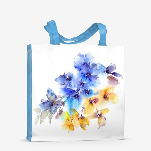 Сумка-шоппер «Голубые и желтые цветы»
