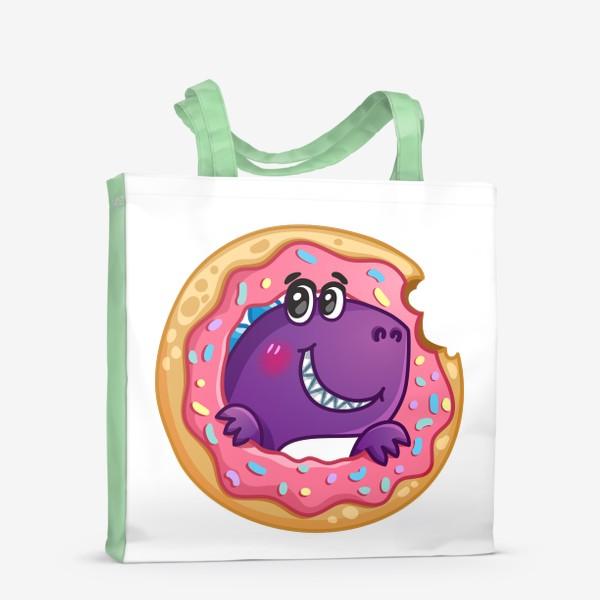 Сумка-шоппер «Маленький динозаврик с пончиком»