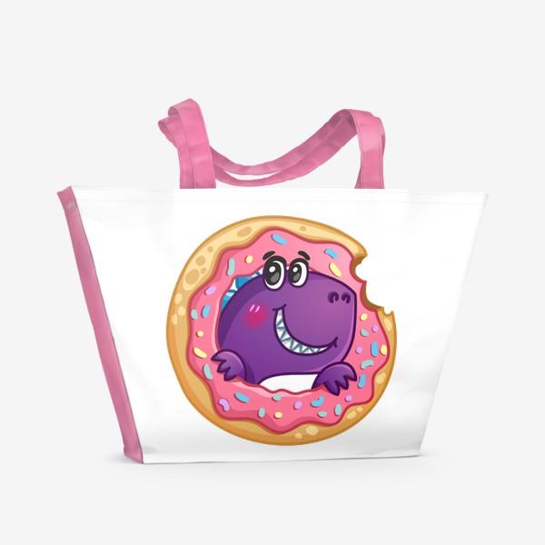 Пляжная сумка «Маленький динозаврик с пончиком»