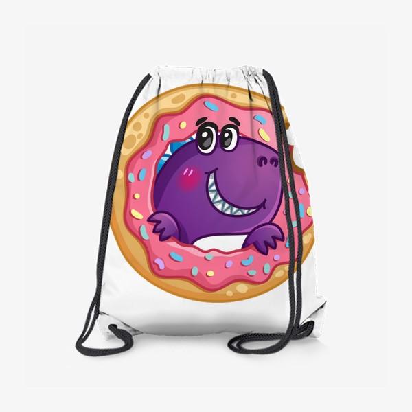 Рюкзак «Маленький динозаврик с пончиком»