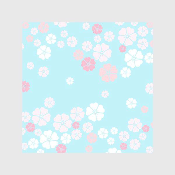 Скатерть «Нежный паттерн. Белые и розовые цветочки на голубом фоне.»