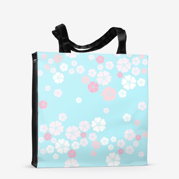Сумка-шоппер «Нежный паттерн. Белые и розовые цветочки на голубом фоне.»